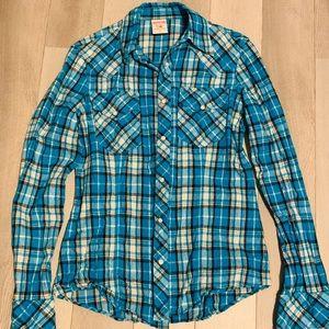 Blue plaid button down True Religion shirt